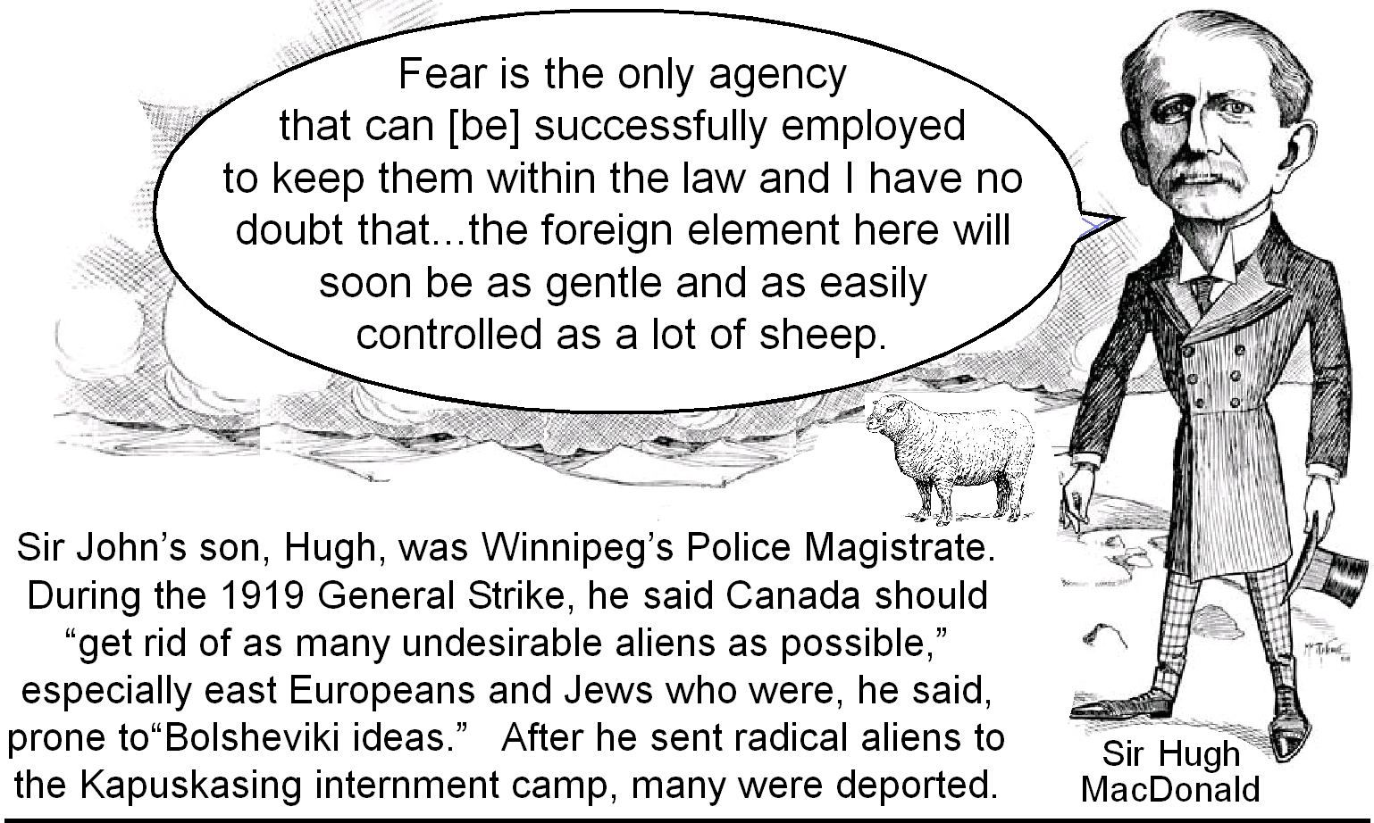 "Sir John's son Hugh, Winnipeg's Police magistrate, said Canada should ""get rid of as many undesirable aliens as possible"" especially east Europeans and Jews who he said were prone to ""Bolsheviki ideas."""